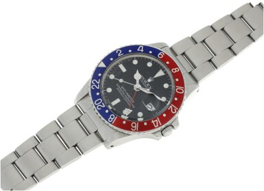 View 4. Thumbnail of Lot 101. ROLEX   REFERENCE 1675 GMT-MASTER 'PEPSI' A STAINLESS STEEL AUTOMATIC DUAL TIME WRISTWATCH WITH DATE AND BRACELET, CIRCA 1970.