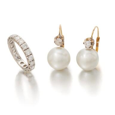 View 1. Thumbnail of Lot 90. PAIR OF CULTURED PEARL AND DIAMOND EARRINGS AND DIAMOND ETERNITY RING   (PAIO DI ORECCHINI CON PERLE COLTIVATE E DIAMANTI E RIVIERA IN DIAMANTI).