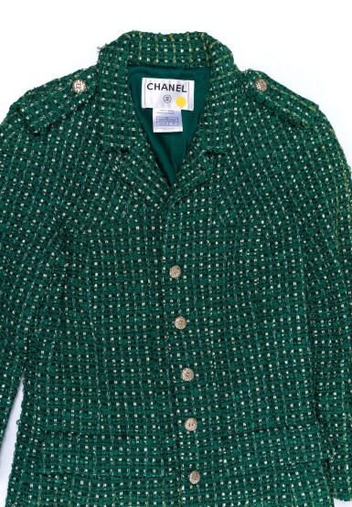 View 7. Thumbnail of Lot 85. GREEN AND WHITE TWEED JACKET AND MATCHING TWEED AND LEATHER CLASSIC SHOULDER BAG, CHANEL.