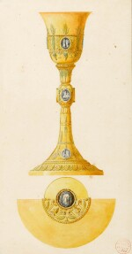 CHARLES PERCIER | TWO DESIGNS FOR POPE PIUS VII A) A PLATEAU B) A CHALICE