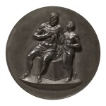 A WEDGWOOD BLACK BASALT CIRCULAR PLAQUE OF MARSYAS AND THE YOUNG OLYMPUS LATE 18TH CENTURY