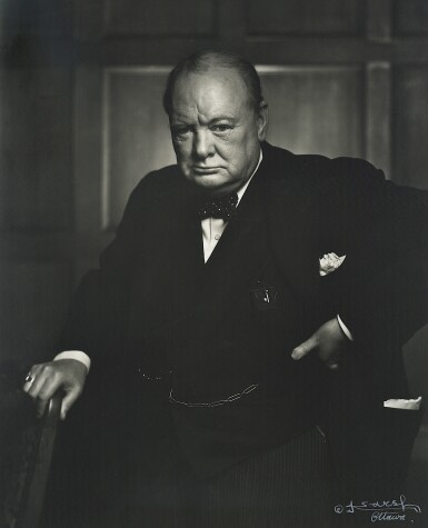 View 1. Thumbnail of Lot 58.  [Winston Churchill] — Yousuf Karsh, photographer | Vintage silver gelatin print, signed by Karsh, 1941 [printed ca. 1951].