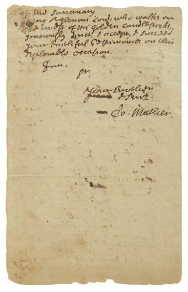 "View 2. Thumbnail of Lot 69. MATHER, COTTON | Autograph letter signed (""Co. Mather""), to the Reverend Samuel Danforth, regarding concerns surrounding Reverend James McSparran, Boston, 29 April 1719."