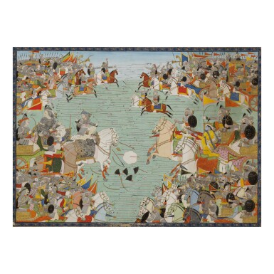 View 1. Thumbnail of Lot 381. AN ILLUSTRATION TO THE MAHABHARATA: THE PANDAVA AND KAURAVA ARMIES FACE EACH OTHER IN COMBAT,  INDIA, KANGRA, CIRCA 1810.
