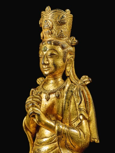 View 6. Thumbnail of Lot 596. A GILT-BRONZE FIGURE OF VAIROCANA,  LIAO DYNASTY.