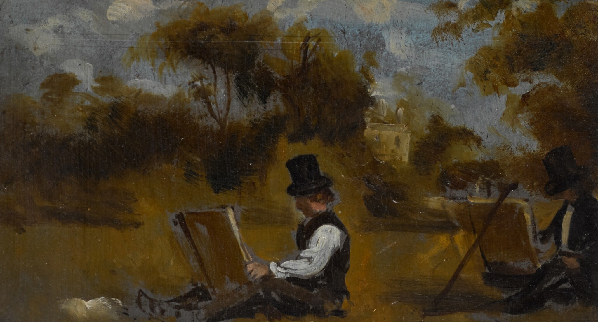 View full screen - View 1 of Lot 207. CIRCLE OF JOHN CONSTABLE, R.A. | Recto: Two artists sketching in a landscape; Verso: A man holding a guineapig and its cage.