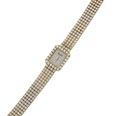 View 6. Thumbnail of Lot 29. Reference 15241 C626   A yellow gold and diamond-set bracelet watch, Circa 1990 .