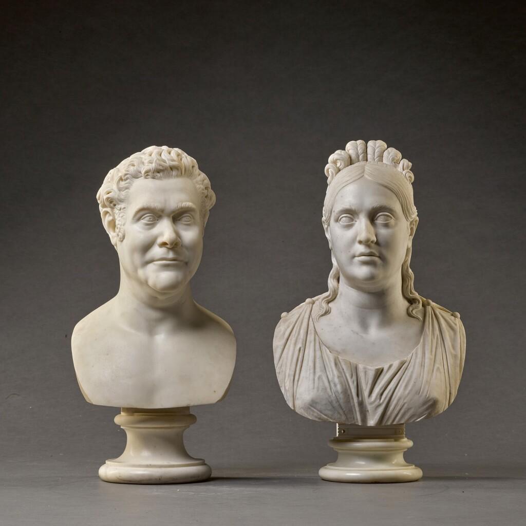 FILIPPO ALBACINI (1777-1858), ITALIAN, ROME, CIRCA 1825 | PAIR OF BUSTS OF PRINCE GIOVANNI AND PRINCESS ANNA MARIA TORLONIA