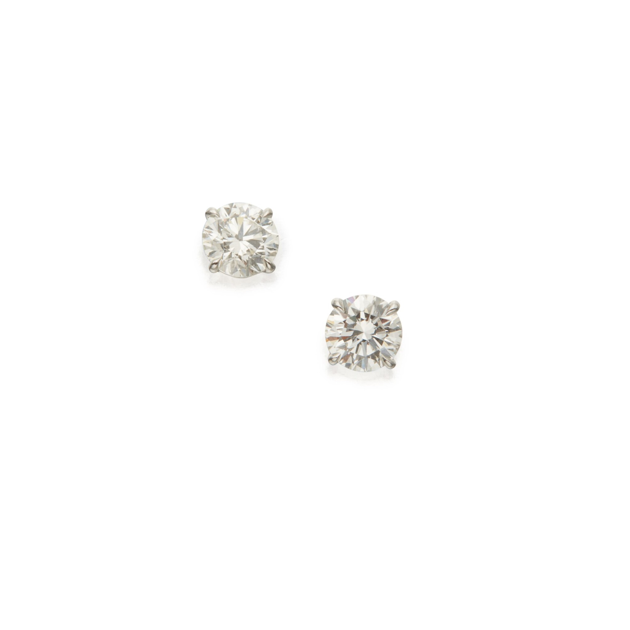 View 1 of Lot 407. Pair of Diamond Earstuds.