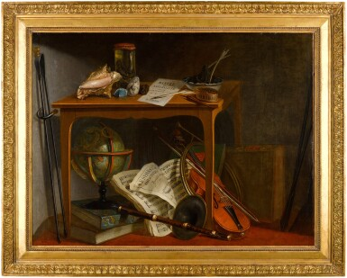 View 4. Thumbnail of Lot 55. NICOLAS HENRI JEAURAT DE BERTRY  |  STILL LIFE WITH SHELLS, A NATURALIST MANUAL, A PRESERVED SNAKE, AND MINERALS RESTING ON A TABLE, ABOVE MUSICAL INSTRUMENTS AND A MUSICAL SCORE, WITH FIRE TONGS ALONGSIDE;  AND STILL LIFE WITH AN INLAID WRITING DESK, CHAIR, CLASSICAL FEMALE BUST, PAPERS, INKWELL, MUSICAL MANUSCRIPT AND FIRE TONGS.