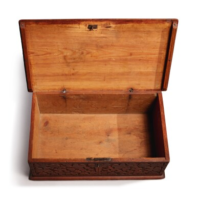 View 5. Thumbnail of Lot 59. Very Fine and Rare Pilgrim Century Red-Painted Carved Oak and Yellow Pine Document Box, attributed to John Moore I, Windsor, Connecticut, circa 1685.