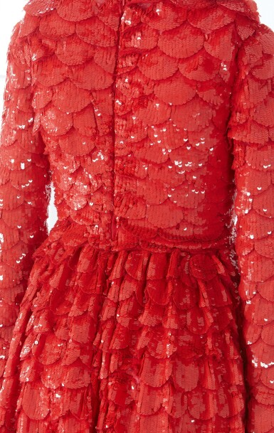 View 9. Thumbnail of Lot 34. Red Tulle Illusion Dress à merlons, Worn by Jane Fonda at the 2020 Screen Actors Guild Awards, Pre-Autumn 2019 Collection.