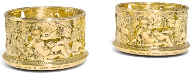 A PAIR OF ELIZABETH II SILVER-GILT WINE COASTERS, RUNDELL, BRIDGE & RUNDELL, LONDON, 2007