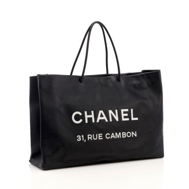 View 1. Thumbnail of Lot 180. Large black leather '31 Rue Cambon' tote bag.