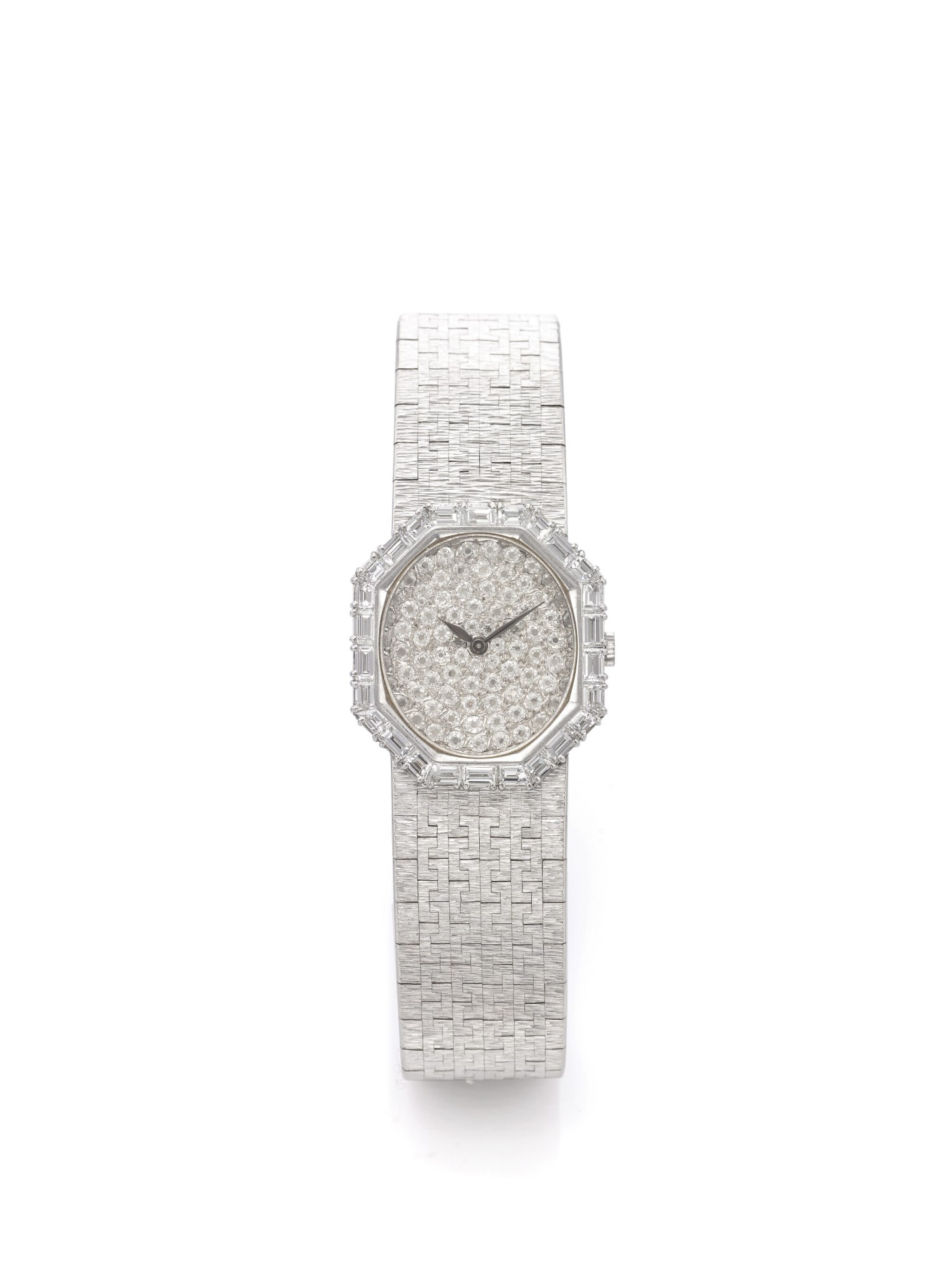 View full screen - View 1 of Lot 172.  PIAGET | REF 93413 B2, A WHITE GOLD AND DIAMOND SET BRACELET WATCH CIRCA 1985.