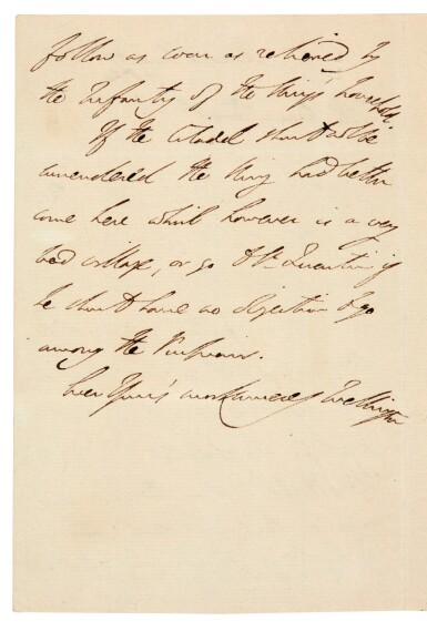 View 1. Thumbnail of Lot 128. DUKE OF WELLINGTON | autograph letter signed, to Sir Charles Stuart, seven days after Waterloo, 1815.