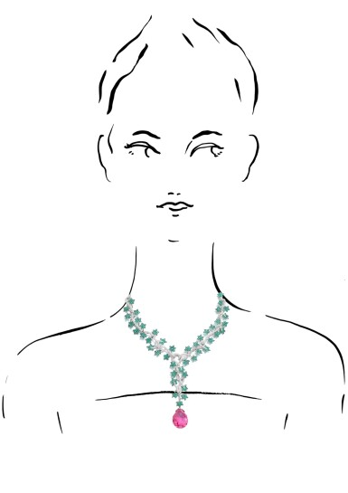 View 4. Thumbnail of Lot 1082. Emerald, tourmaline and diamond pendent necklace.