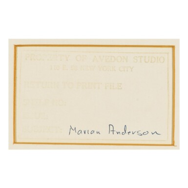 RICHARD AVEDON | MARIAN ANDERSON, CONTRALTO, NEW YORK, JUNE 30, 1955