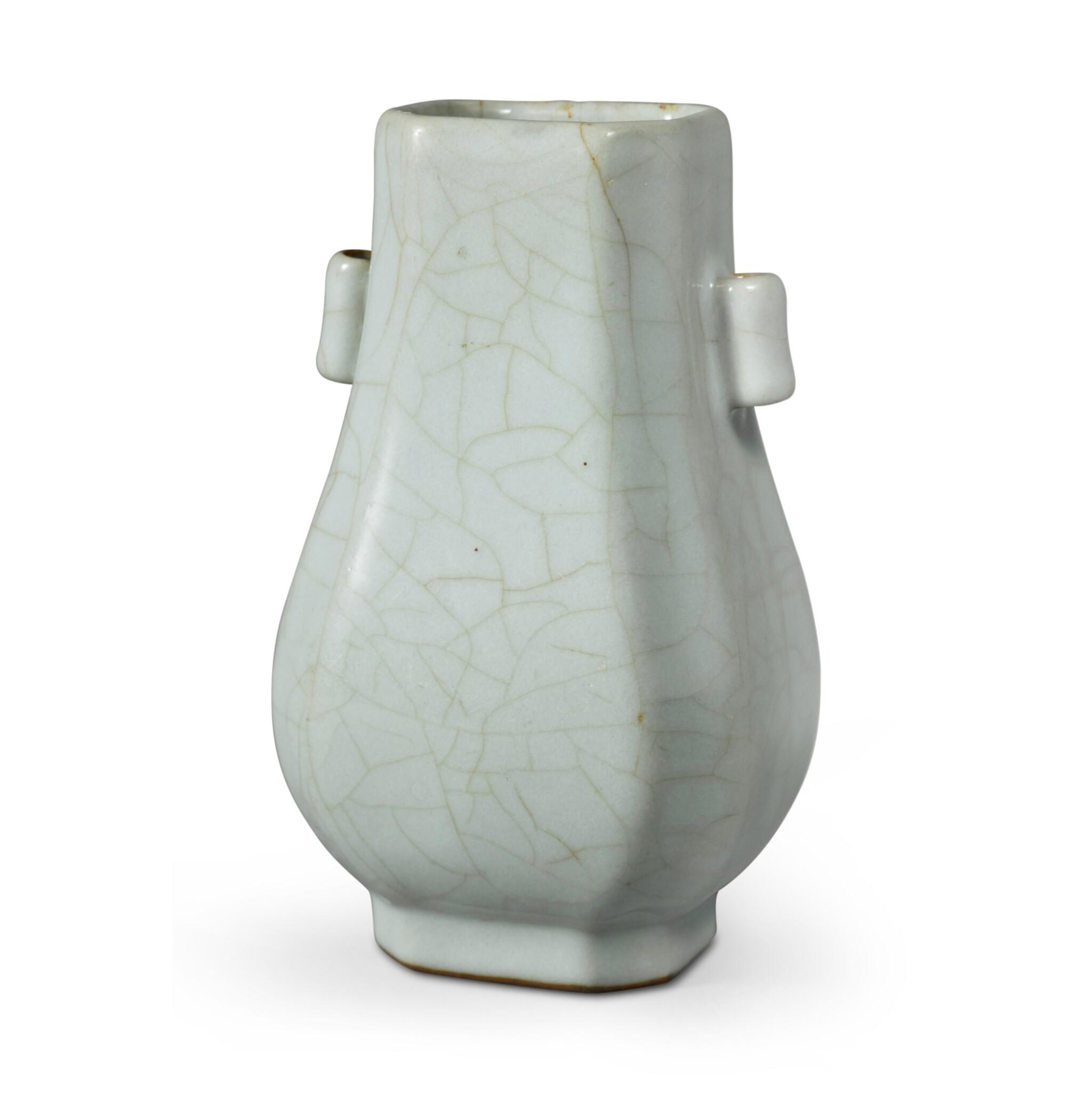 View full screen - View 1 of Lot 142. A Guan-type faceted vase, Seal mark and period of Qianlong | 清乾隆 仿官釉八方貫耳壺 《大清乾隆年製》款.