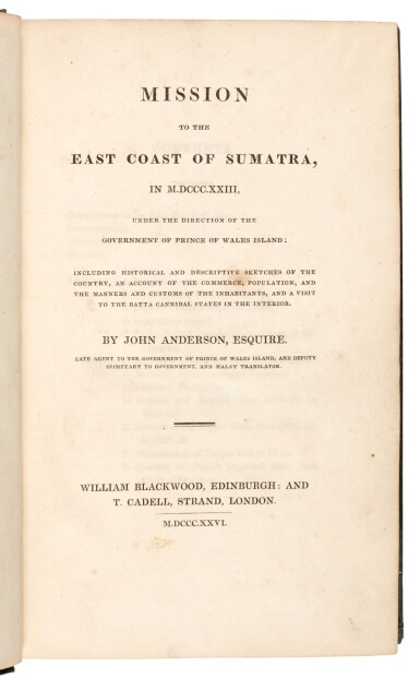 View 2. Thumbnail of Lot 160. John Anderson   Mission to the east coast of Sumatra, 1826, Brooke-Hitching copy.