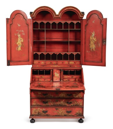 View 2. Thumbnail of Lot 119.  A GEORGE III RED JAPANNED BUREAU CABINET, SECOND QUARTER 18TH CENTURY.