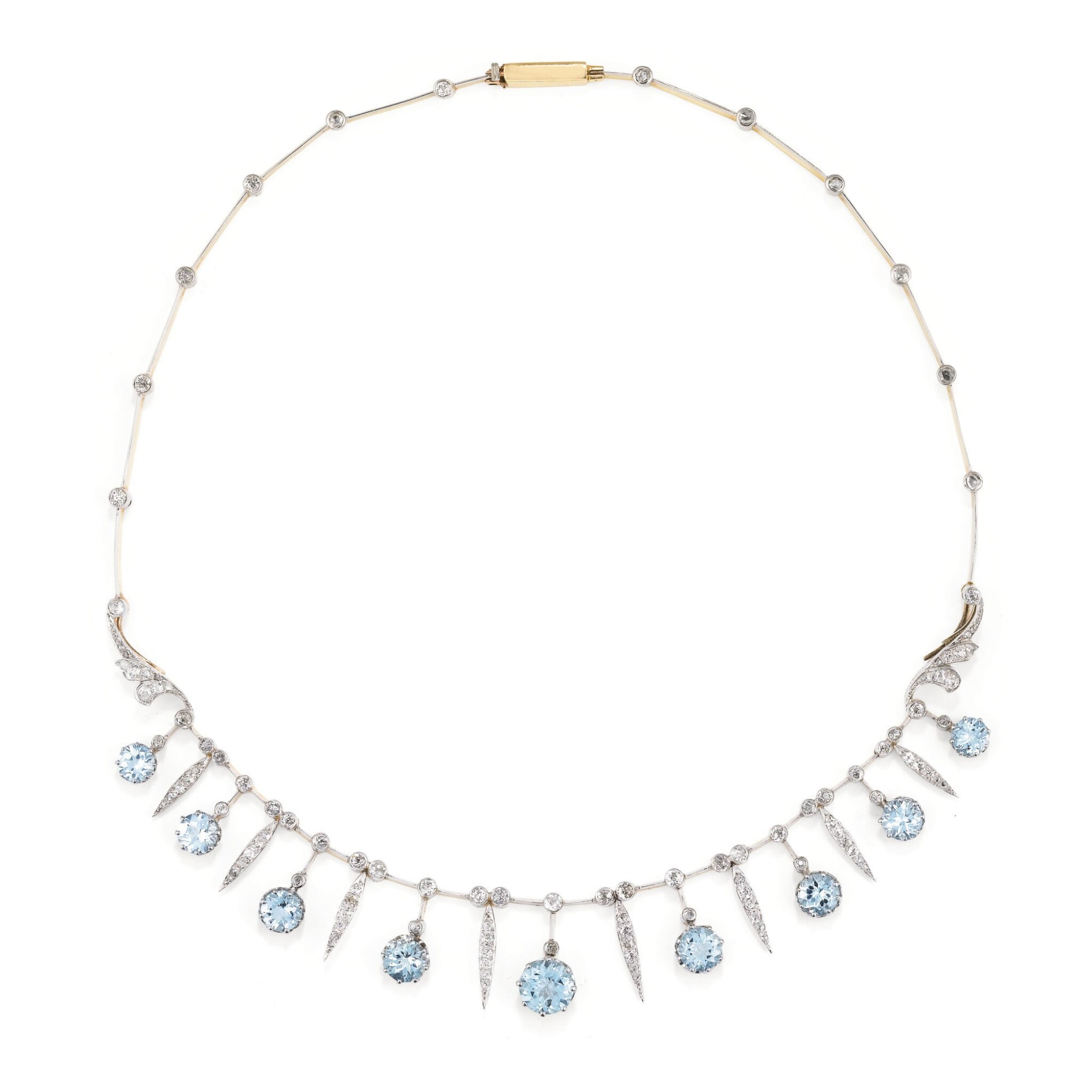 View full screen - View 1 of Lot 145. COLLIER AIGUES-MARINES ET DIAMANTS, MELLERIO, FIN DU 19EME SIECLE | AQUAMARINE AND DIAMOND NECKLACE, MELLERIO, LATE 19TH CENTURY.