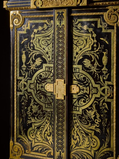 View 5. Thumbnail of Lot 31. A LOUIS XIV STYLE GILT-BRONZE MOUNTED, EBONY AND BRASS BOULLE MARQUETRY SMALL ARMOIRE, BY JOSEPH CREMER, CIRCA 1860.