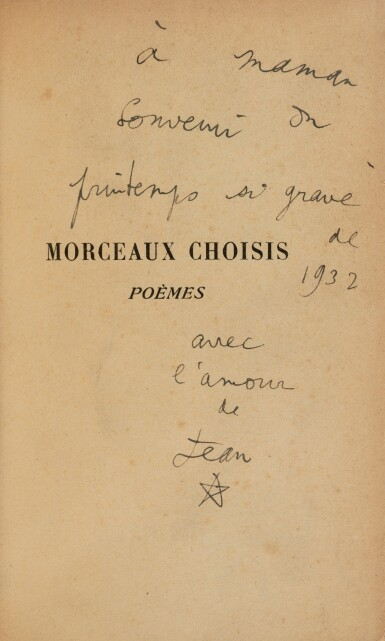 View 1. Thumbnail of Lot 143.  Morceaux choisis. 1932. Rel. de Nobuko Kiyomiya. Ex. du service de presse, avec envoi à sa mère..