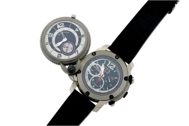 View 7. Thumbnail of Lot 809. TWINS TITAN GMT A LIMITED EDITION TITANIUM DUAL DIALLED, DUAL TIME, FLY-BACK CHRONOGRAPH WRISTWATCH WITH DATE CIRCA 2010.