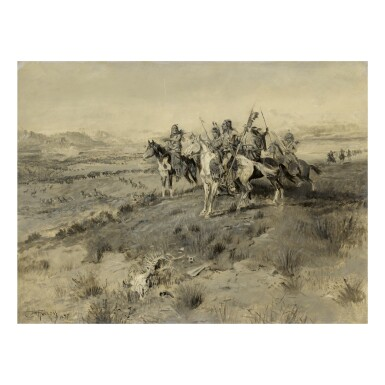 View 1. Thumbnail of Lot 55. CHARLES MARION RUSSELL | BEFORE THE WHITE MAN CAME (INDIAN GAME HUNT).