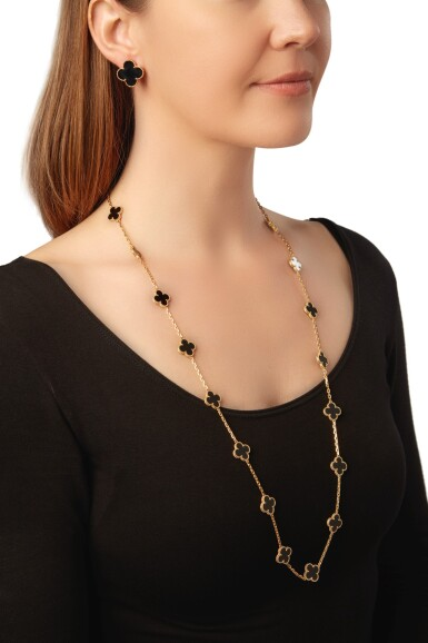 View 4. Thumbnail of Lot 23. ONYX 'ALHAMBRA' NECKLACE AND PAIR OF EARCLIPS, VAN CLEEF & ARPELS.