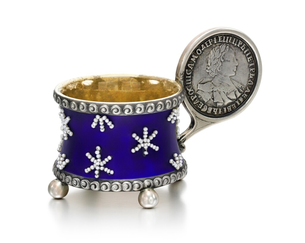 A FABERGÉ PARCEL-GILT SILVER, ENAMEL AND SEED PEARL CHARKA, MOSCOW, 1908-1917