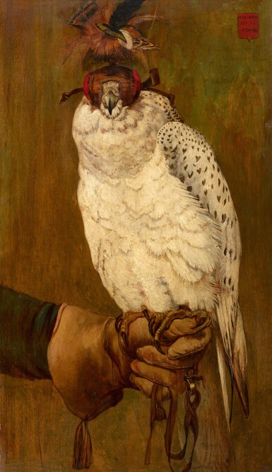 View 1. Thumbnail of Lot 4. FRENCH SCHOOL, LATE 19TH CENTURY  |  PORTRAIT OF A HOODED GYRFALCON, PERCHED ON A GLOVED HAND.