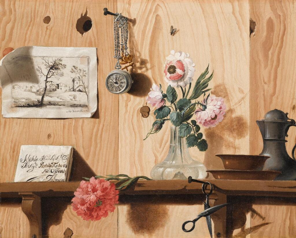 ANDREA URBANI | A trompe l'œil with flowers, a drawing, scissors, a watch, and plates, a jug and a letter on a wooden shelf