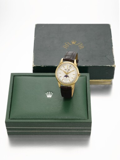 View 10. Thumbnail of Lot 366. ROLEX   PADELLONE, REF 8171, YELLOW GOLD WRISTWATCH WITH DAY, DATE, MONTH AND MOONPHASE, CIRCA 1952.
