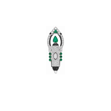 View 1. Thumbnail of Lot 20. Cartier [ 卡地亞] | Gem-Set and Diamond Lapel-Watch, France [寶石配鑽石領錶].