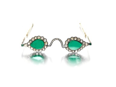 View 2. Thumbnail of Lot 213. A pair of Mughal spectacles set with emerald lenses, in diamond-mounted frames, India, lenses circa 17th century, frames 19th century.