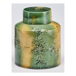 A LEAD-GLAZED CREAM-COLORED EARTHENWARE CYLINDRICAL TEA CANISTER AND COVER CIRCA 1760