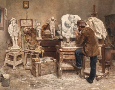 View 1. Thumbnail of Lot 42. EVERT PIETERS | The Sculptor Alphonse van Beurden in his Studio   .