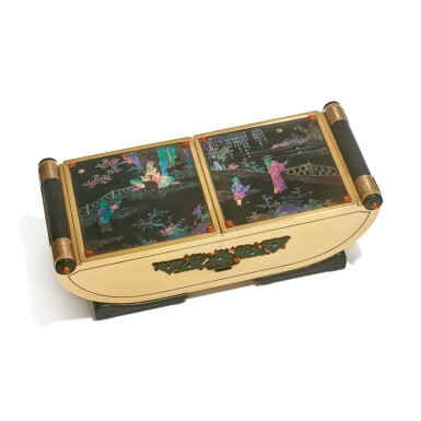 A FRENCH ART DECO GOLD AND LACQUE BURGAUTÉ DOUBLE CIGARETTE BOX MOUNTED WITH NEPHRITE AND JEWELS, CARTIER, PARIS, CIRCA 1925