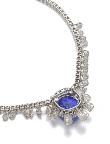 View 3. Thumbnail of Lot 6. SAPPHIRE AND DIAMOND NECKLACE.