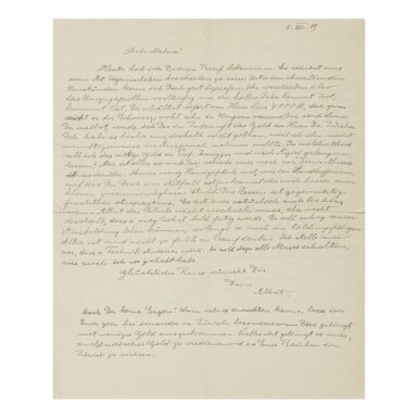 View 1. Thumbnail of Lot 173. EINSTEIN, ALBERT   Autograph letter signed, one side addressed to wife Mileva Maric, the other to his sons Hans Albert and Eduard, 5 December, 1919..