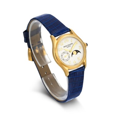 View 3. Thumbnail of Lot 702. REFERENCE 4856 YELLOW GOLD WRISTWATCH WITH MOON-PHASES MADE IN 2002.