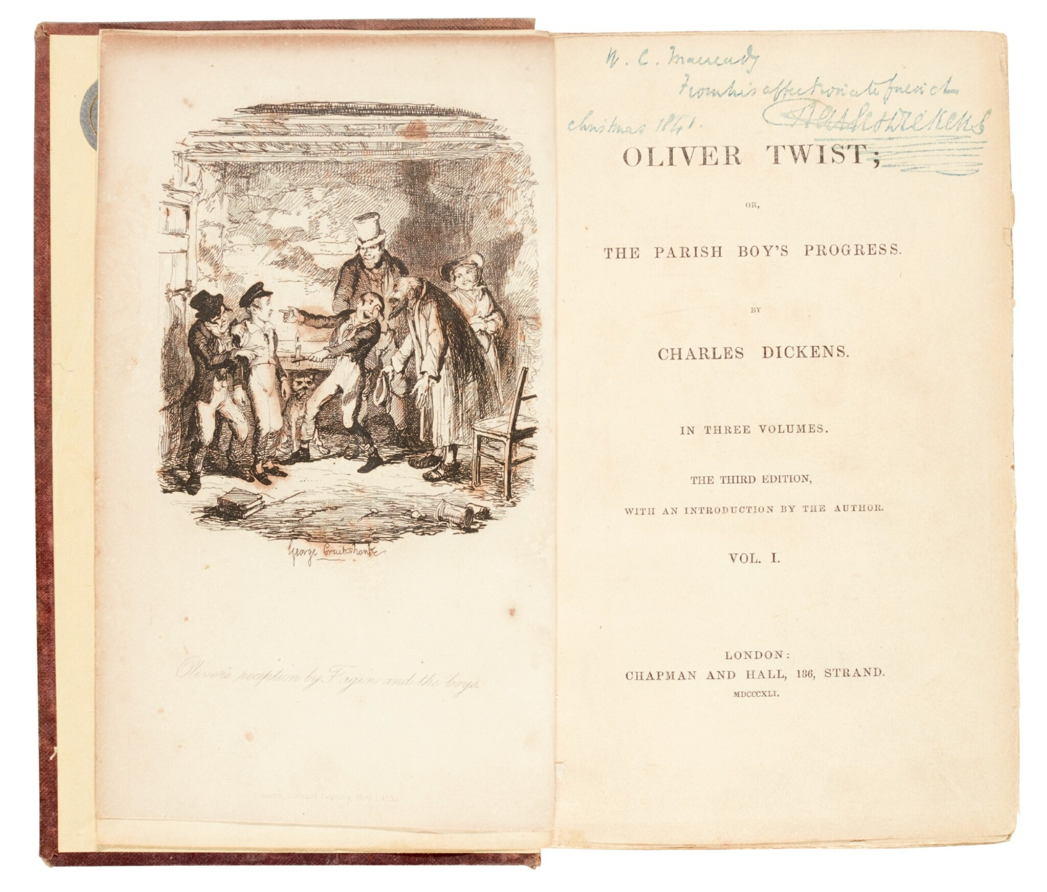 View full screen - View 1 of Lot 50. Dickens, Oliver Twist, 1841, third edition, presentation copy inscribed to Macready.