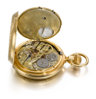 View 6. Thumbnail of Lot 42. B. HAAS JEUNE & CIE, PARIS & GENÈVE   [B. Haas Jeune & Cie,巴黎及日內瓦] |  A GOLD HUNTING CASED DOUBLE DIALLED KEYLESS LEVER WATCH WITH CALENDAR AND MOON PHASES  CIRCA 1890   [黃金雙錶盤懷錶備日曆及月相顯示,年份約1890].