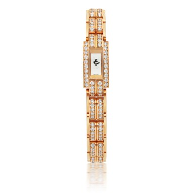 JAEGER-LECOULTRE | REF 285.2.70, PINK GOLD AND DIAMOND-SET BRACELET WATCH   CIRCA 2012