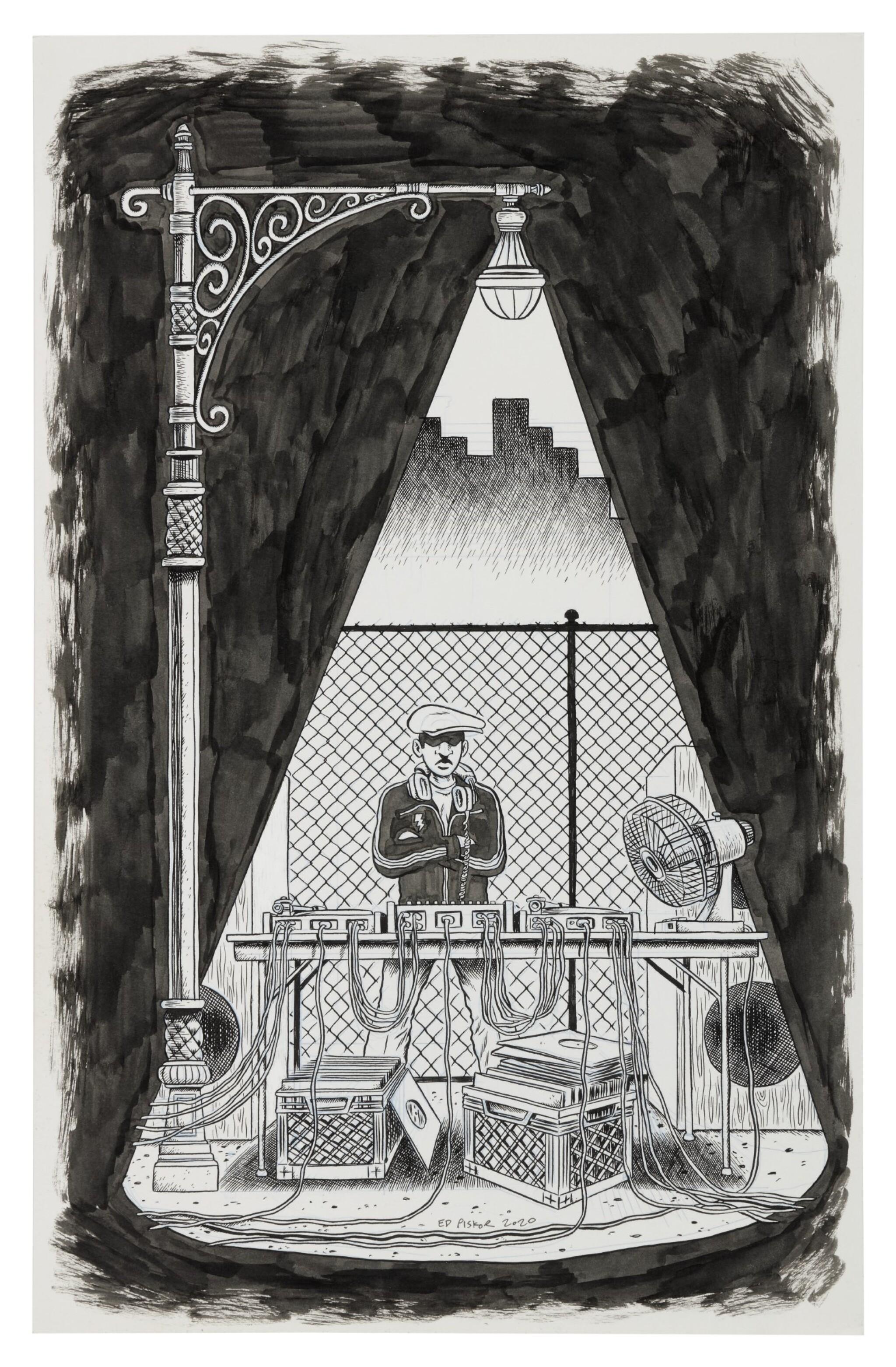 "ED PISKOR | ""Park DJ"". Original artwork for page 2, volume 1 of ""The Hip Hop Family Tree"", 2015"