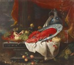 FOLLOWER OF JAN DAVIDSZ. DE HEEM | Still life with peaches, plums and grapes in a gilt charger, a lobster on a porcelain plate, a porcelain jug, a façon de Venise glass, cherries, a loaf of bread and lemons on a partly-draped ledge