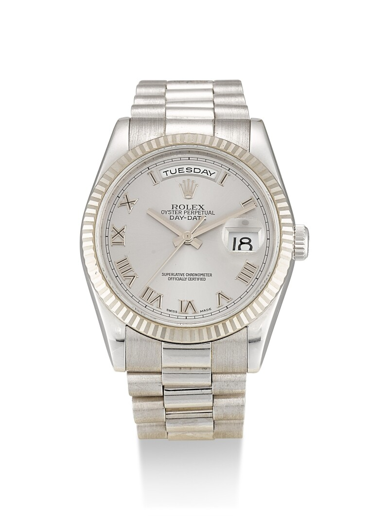 Day-Date, Reference 118239  A White Gold Wristwatch With Day, Date And Bracelet, Circa 2006