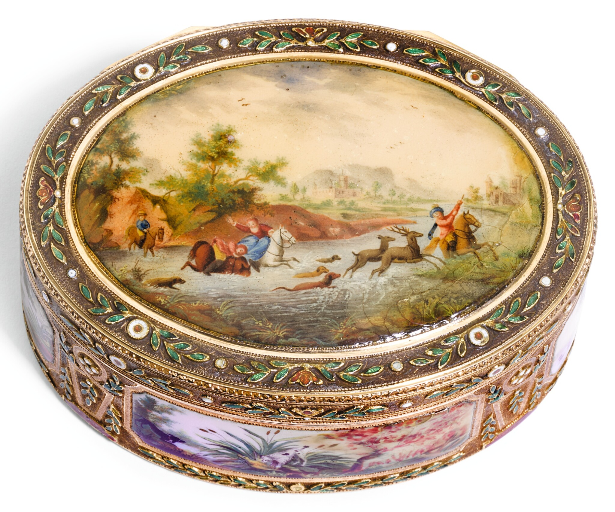 View full screen - View 1 of Lot 55. A GOLD ENAMEL AND SNUFF BOX, PROBABLY GERMAN, LATE 18TH CENTURY.